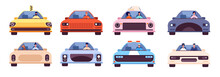 People Driving Car. Journey Style, Young Character Travel With Pet. Taxi Driver, Auto Front Side With Passengers. Utter Transport Vector Set. Illustration Car Driver, Transport Auto