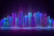 Night city panorama. Colorful landscape, retro neon futuristic cityscape. Beach downtown buildings, abstract urban recent vector background. Office building, beautiful view cityscape illustration