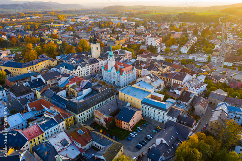 Fotografie, Obraz Panoramic aerial view of autumn landscape of Czech town of Sumperk with Church o