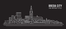 Cityscape Building Line Art Vector Illustration Design -  Breda City