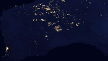 The Country Of Australia At Night View From Space From A Satellite. Contains Public Domain Image By NASA.