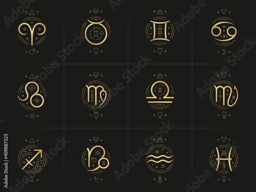 Canvas Print Zodiac astrology horoscope glyphs linocut silhouettes design vector illustration