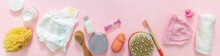 Baby Bathing Accesories On Pink Background, Top View