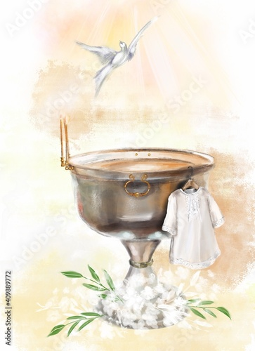 illustration a metal font in a church for the baptism of children and a white baptismal shirt Fototapete
