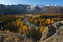Russia. Gorny Altai. River Valley Along The Chuya Chuya Highway Near The Village Jodro.