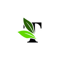 Letter T Logo With Green Leaves, Nature Logo/Icon Design Template.