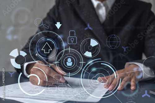 Tablou Canvas African American businesswoman is signing a contract to create a new software to present it in start up conference and gain investments to create a product