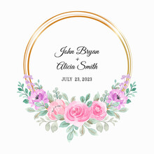 Pink Purple Floral Wreath With Watercolor