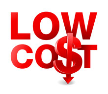 Low Cost, Slogan With 3D Dollar Sign And Arrow