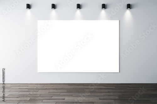 Canvas Print Minimalistic interior with lamps on ceiling and poster on wall.