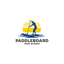 Ocean Paddleboard Silhouette Logo Vector