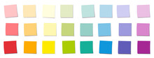 Sticky Notes, Rainbow Gradient Colored Square Notepads, Different Colors And Saturations. Isolated Vector Illustration On White Background.