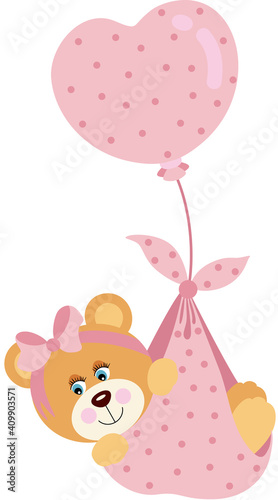 Cute baby girl teddy bear flying with pink heart balloon  #409903571