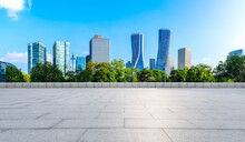 Empty Square Floor And Modern City Skyline With Building In Hangzhou,China.