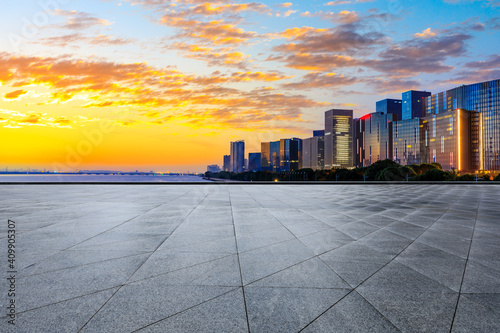 Fototapety, obrazy: Empty square floor and modern city skyline in Hangzhou at sunrise,China.