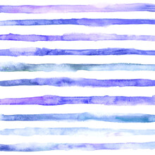 Hand Drawn Watercolor Navy Washed Stripes Background