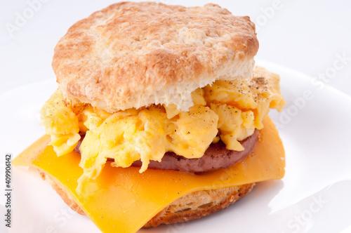 Fototapeta egg and biscuit sandwich