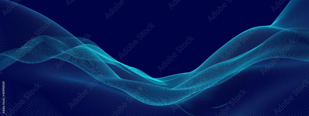 Fototapeta Blue wave points terrain or landscape over blue background, technology or business template