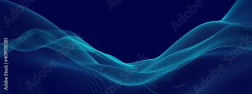 Fotografia Blue wave points terrain or landscape over blue background, technology or busine