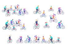 People Riding Bicycles, Man Waving His Hand, Mother Riding Bicycles With Child. People Cycling Outdoor Activities Concept At Park, Healty Life Style. Cartoon Illustration