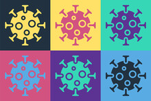 Pop Art Virus Icon Isolated On Color Background. Corona Virus 2019-nCoV. Bacteria And Germs, Cell Cancer, Microbe, Fungi. Vector.