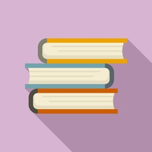 Book Stack Icon. Flat Illustration Of Book Stack Vector Icon For Web Design