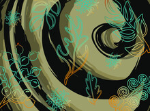 Blue Floral Patterns On The Beige And Black Background