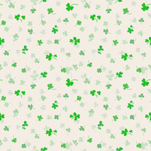 Seamless Pattern With Clover Leaves.Magical Plant. Background For St. Patrick's Day. Green Endless Backdrop With Trefoils And Quatrefoils. Shamrock. Irish Story.