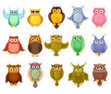 Owl Birds Vector Design Of Cute Cartoon Owlets. Colorful Feathered Barn, Long Eared And Eagle Owls With Spread Wings And Big Eyes, Isolated Wild Forest Birds Of Prey For Wildlife Mascot Design