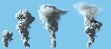 4 Different Renders Of Heavy Bright Smoke Column As From Volcano Or Big Industrial Explosion - Pollution Concept, 3d Illustration Of Objects