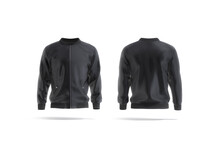 Blank Black Bomber Jacket Mockup, Front And Back View