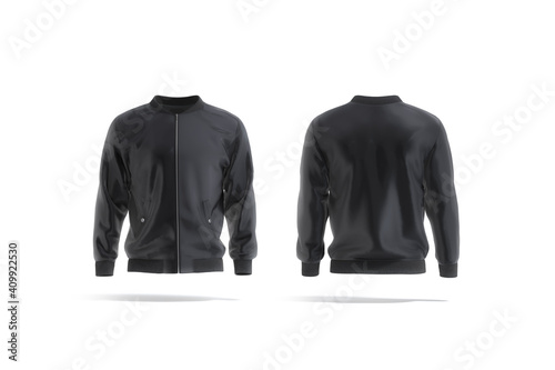 Fotografiet Blank black bomber jacket mockup, front and back view