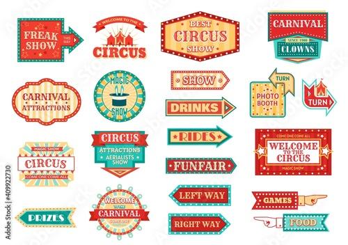 Circus pointer, carnival or funfair arrow signboard isolated vector icons Fototapeta