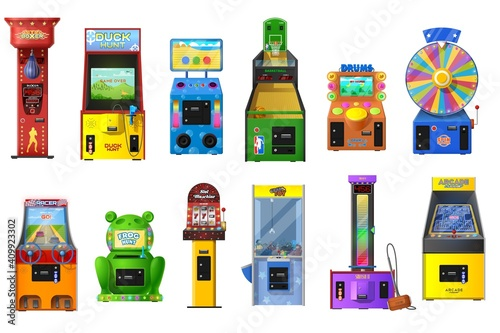 Cuadros en Lienzo Game machines vector set of arcade video, casino slot, claw crane and wheel of fortune