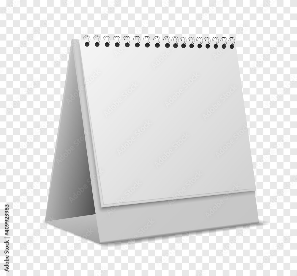 Fototapeta Calendar mockup. Empty realistic organizer with sheets on spiral standing, blank paper pages for messages, desktop office event reminder, stationery template, 3d vector isolated object