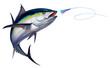 canvas print picture - Black fin tuna attacks Bait Sea Swim Squids realistic illustration. Black fin yellow tuna in a jump.