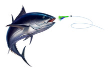 Dark Tuna Tuna Fish, Bluefin Tuna Attacks Bait Sea Swim Squids Realistic Illustration. Black Fin Yellow Tuna In A Jump.