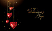 Happy Valentines Day Card. Valentine Hearts Background. Red Hearts Ornament Hanging On Gold Ribbon With Gold Glitter Hearts On Black Backdrop.