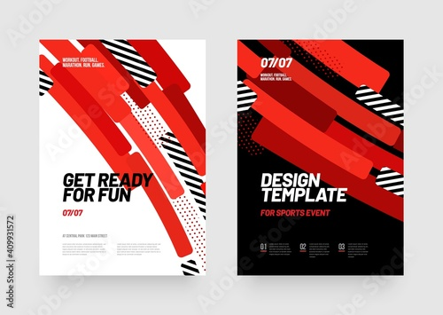 Fotografie, Obraz Design of posters with red shapes for sports event, competition or championship