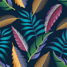 Tropical Leaves Seamless Pattern On Dark Background. Elegant Exotic Background.