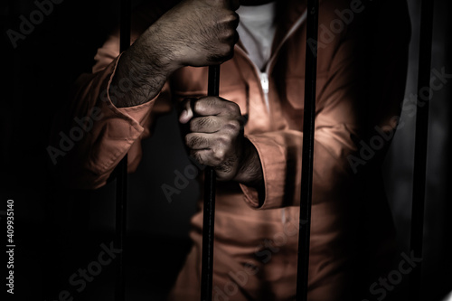 Canvas Asian man desperate at the iron prison,prisoner concept,thailand people,Hope to
