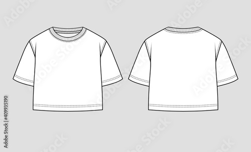 Fotografiet Cropped top. Mockup template.