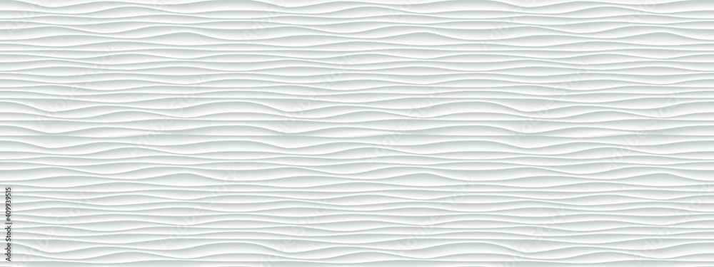 Fototapeta Wall texture wave pattern, white paper background, vector modern seamless abstract decor with surface ripples, geometric cover decoration design