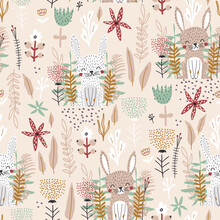 Seamless Childish Pattern With Cute Bunnies And Flowers. Creative Kids Forest Texture For Fabric, Wrapping, Textile, Wallpaper, Apparel. Vector Illustration