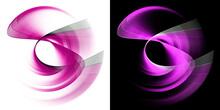 The Wavy And Arcuate Magenta Planes Dynamically Intersect And Rotate Against White And Black Backgrounds. Graphic Design Elements Set. 3d Rendering. 3d Illustration. Sign, Icon, Symbol, Logo.