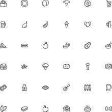 Icon Vector Icon Set Such As: Caviar, Pictogram, Dough, Bean, Turkey, Garlic, Harvest, Cap, Latte, Flower, Grocery, Dome, Bake, Filled, Apple, Candy, Clove, Toadstool, Closeup, Template, Green
