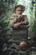 Confident Vintage Style Adventurer Exploring The Jungle