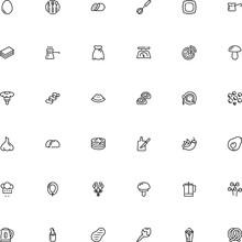 Icon Vector Icon Set Such As: Pretzel, Lettuce, Mashrooh, Clean, Caramel, Lamb, Instrument, Appliance, Glass, Paprika, Ethnic, Press, Close, Confectionery, Electrical, Tenderloin, Profession