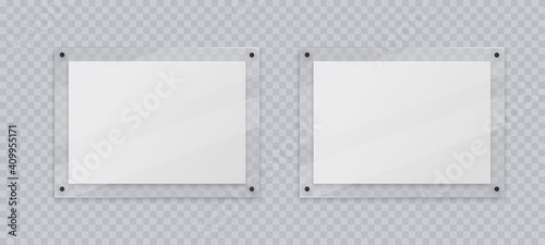 Obraz Acrylic frame mockup, two horizontal glass plate for poster of photo, realistic mockup isolated hanging on transparent wall. White blank banners on plexiglass display, 3d vector illustration. - fototapety do salonu