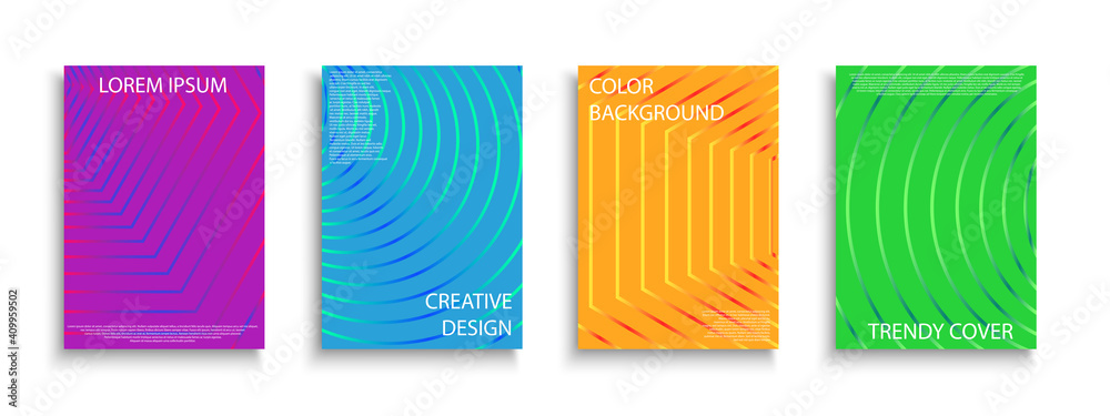 Fototapeta Set of vector colorful striped covers, templates, posters, placards, brochures, banners, flyers and etc. Contemporary geometric bright backgrounds. Digital vibrant design